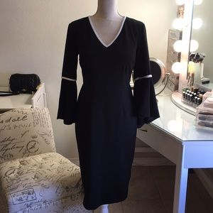NWT high low bell sleeve black & white dress